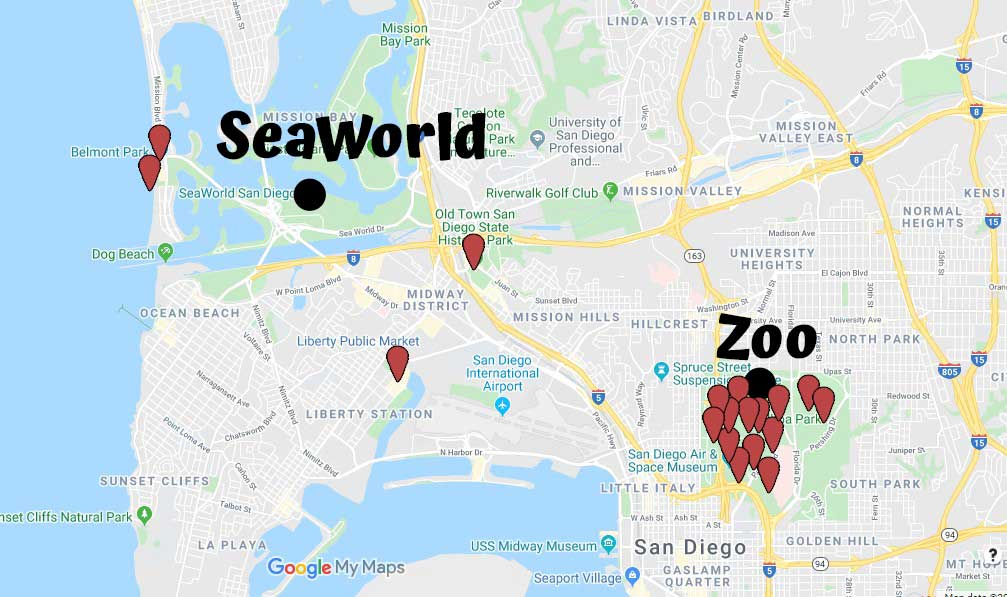 Attractions close to San Diego Zoo and SeaWorld on a map image