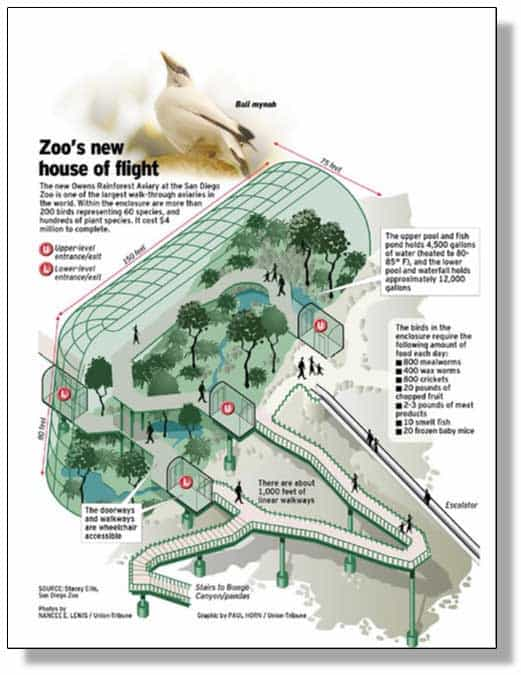 Illustration of the Owens Rainforest Aviary by Paul Horn. From his Flickr account.