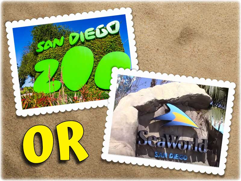 Should you choose San Diego Zoo or SeaWorld? Photos of entrance signs to both attractions.