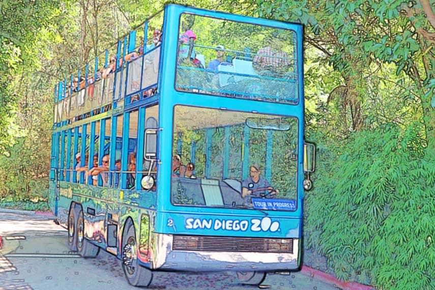 Guided Tour Bus photo digitally manipulated with hand drawing highlights.