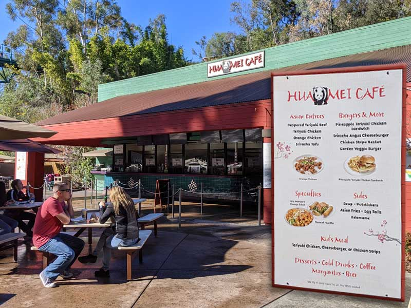 Hua Mei Cafe at the San Diego Zoo. Front, table seating and menu