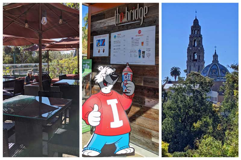 The Bridge & Refreshments drinks & snacks at San Diego Zoo. Tables and views of the Museum of Man tower in Balboa Park.