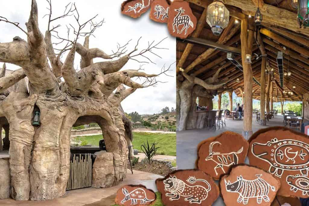 The Watering Hole at San Diego Safari Park exterior and interior details. The Baobab Tree Bar is on the left side of the image.
