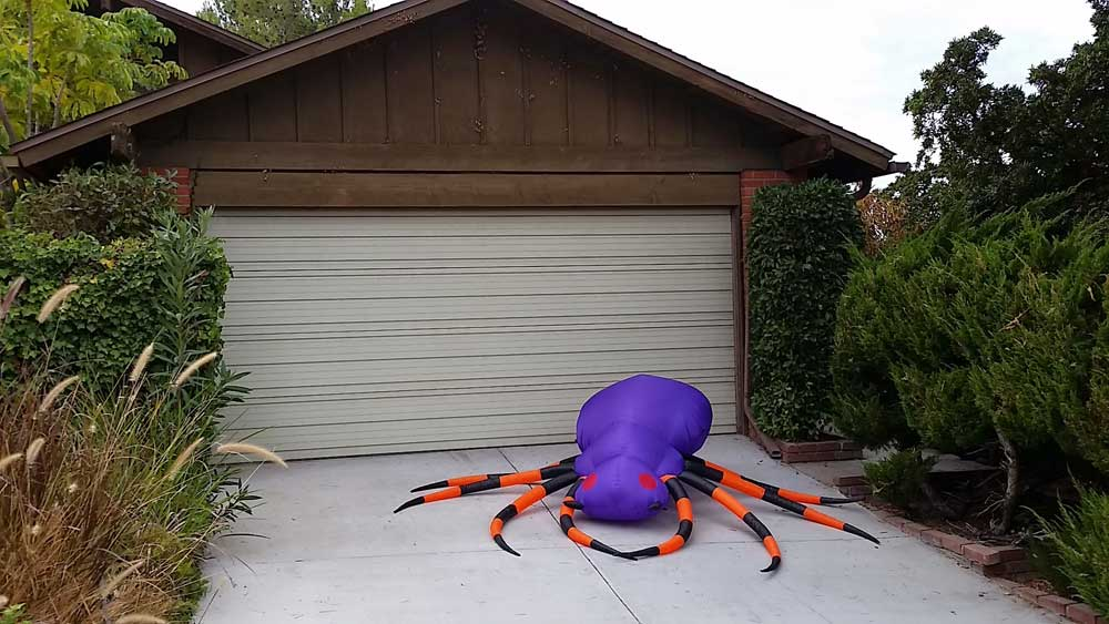 Giant purple inflatable spider - probably not going to be allowed into the San Diego Zoo.
