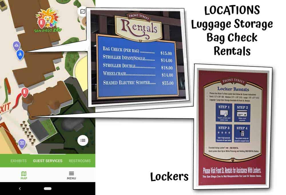 San Diego Zoo locations for luggage storage, bag check, lockers and rentals shown on a map.