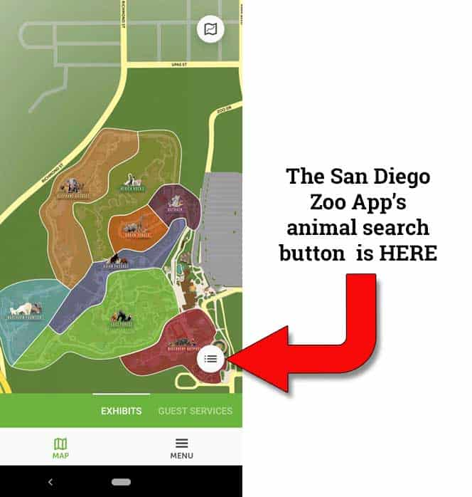 San Diego Zoo App - how to search for the location of specific animals