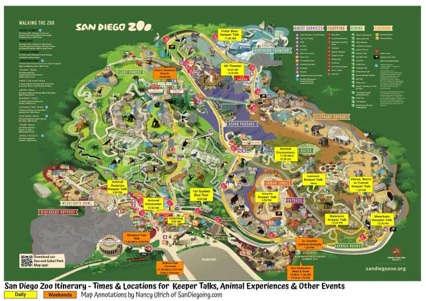 San Diego Zoo keeper talks and Animal Encounters locations and times