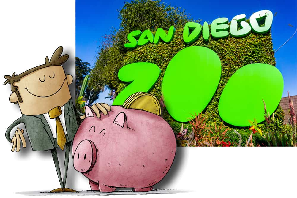 Cartoon man proud of getting a great deal on San Diego Zoo discount tickets. He's  petting a large pink piggy bank with a gold coin in front of a San Diego Zoo sign