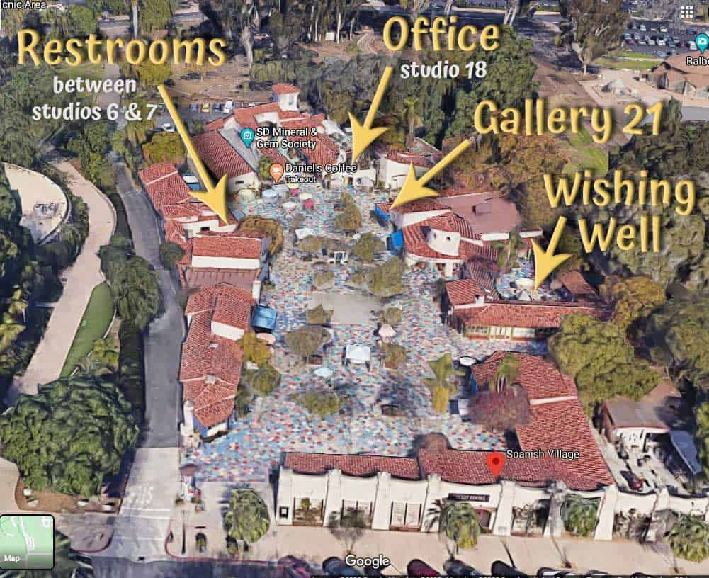 Spanish Village in Balboa Park aerial view showing Office, restrooms & wishing well locations.