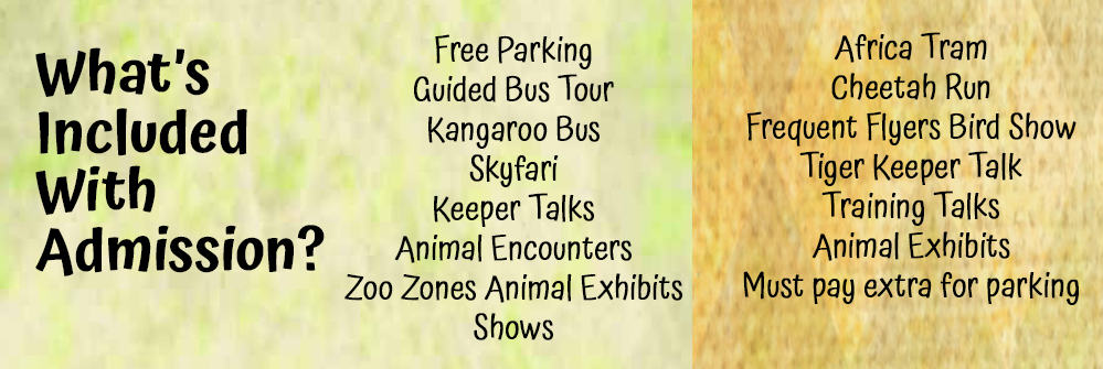 What's included with San Diego Zoo and Safari Park tickets?