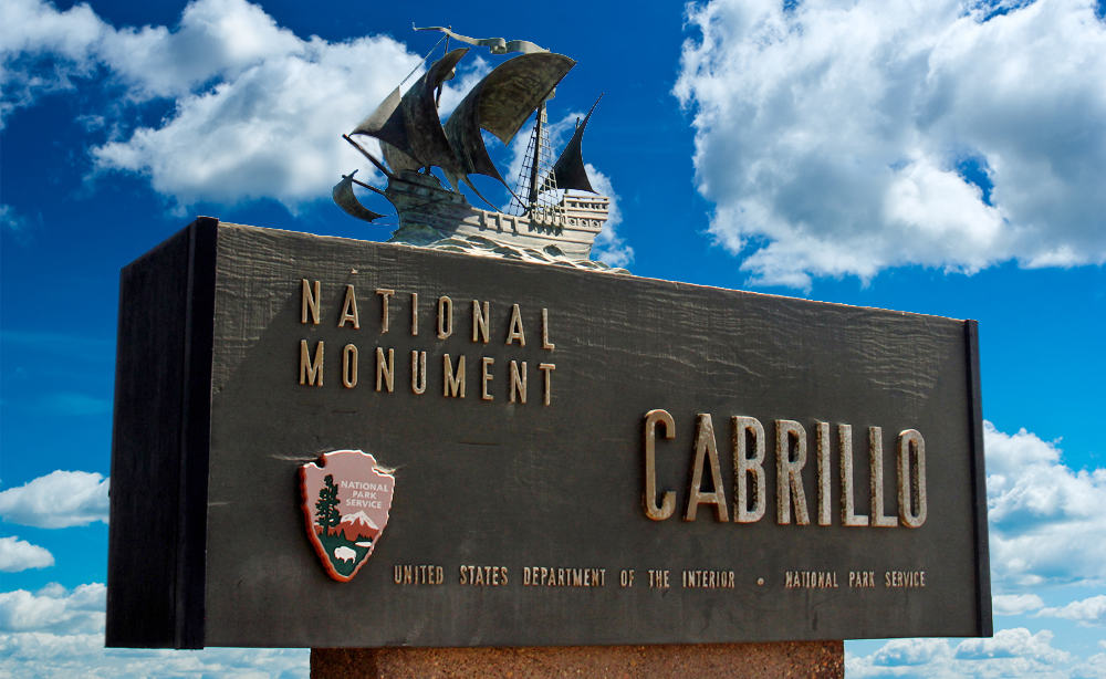 Cabrillo National Monument sign at entry.