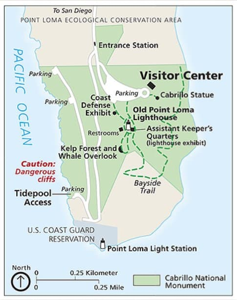 Cabrillo National Monument map of attractions and trails from the National Parks Service