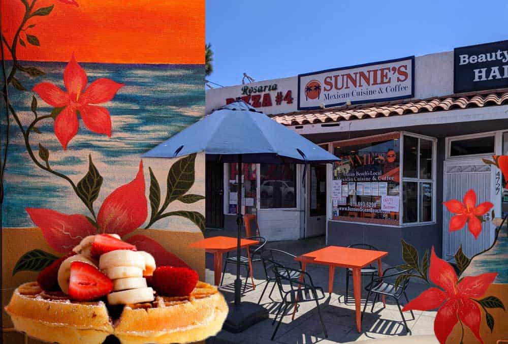 Collage of images from Sunnie's Ocean Beach Local Mexican Cuisine and Coffee. Their storefront, mural and waffles with fresh fruit.
