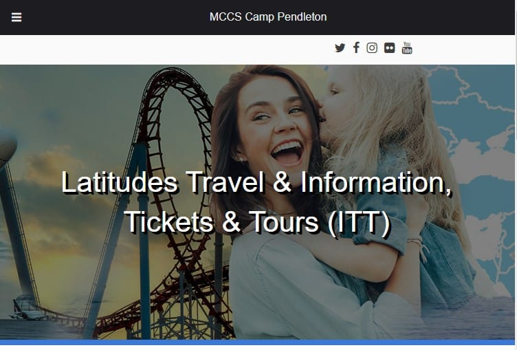 Screenshot of MCCS Camp-Pendleton, Travels & Information Tickets & Tours web page