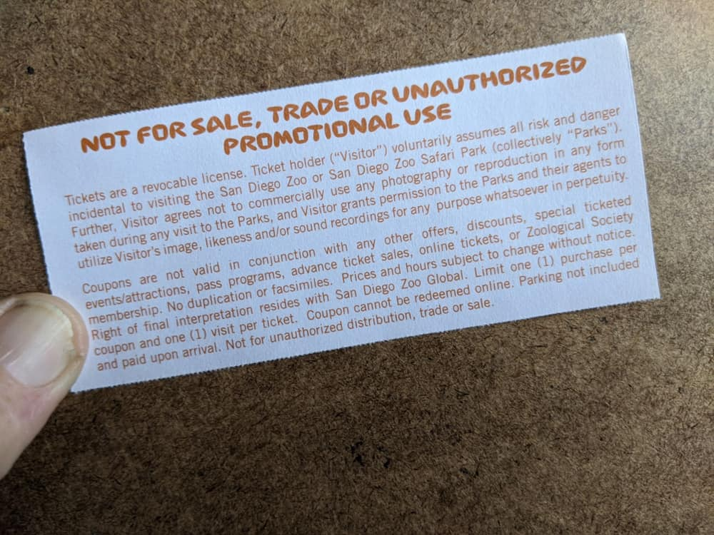 Photo of San Diego Safari Park Guest Pass with text prohibiting resale.