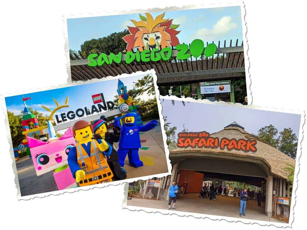 San Diego Zoo, Safari Park and Legoland ticket package. 3 photo collage