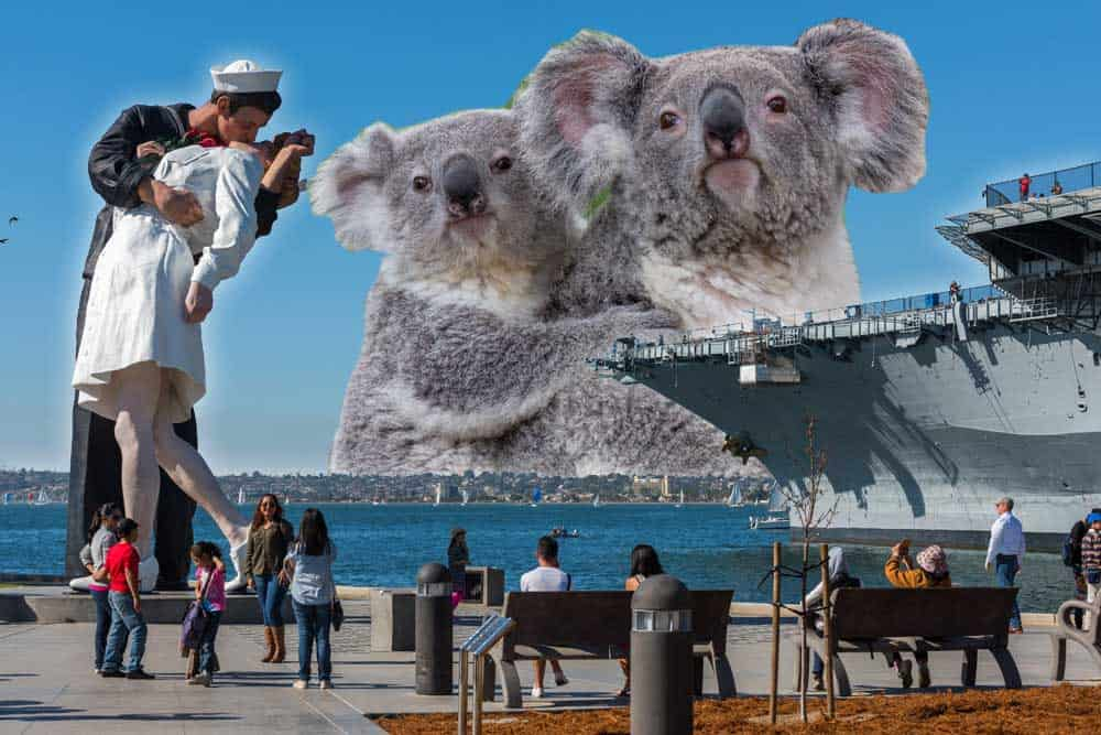 USS Midway and Unconditional Surrender statue with San Diego Zoo koalas in the background of this photo collage.