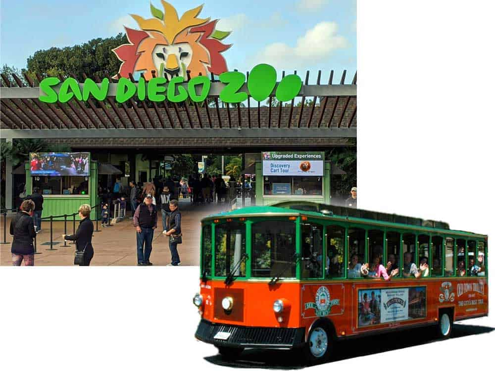 San Diego Zoo entrance and an Old Town Trolley tour car. Collaged together