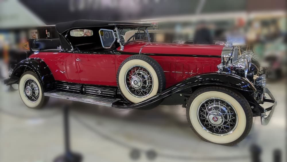 Red Duesenberg on display at the San Diego Automotive Museum