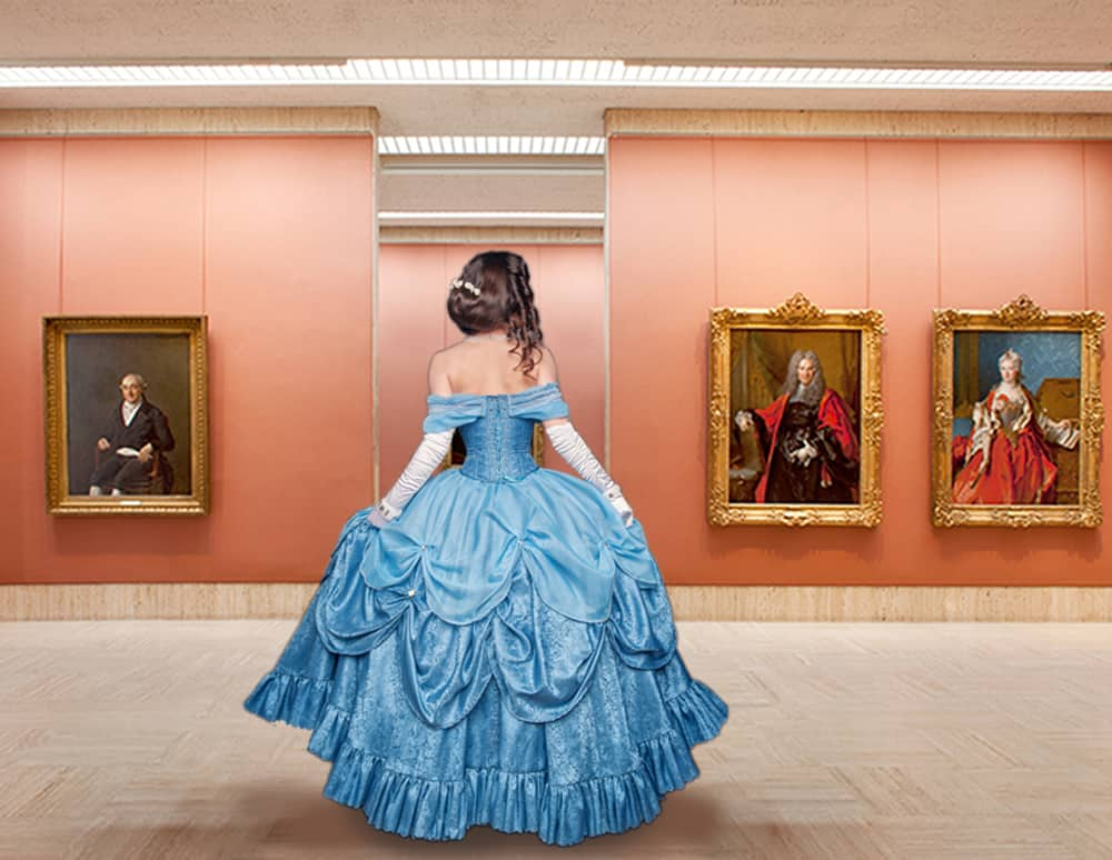 Timken Museum of Art in Balboa Park with woman in blue dress.