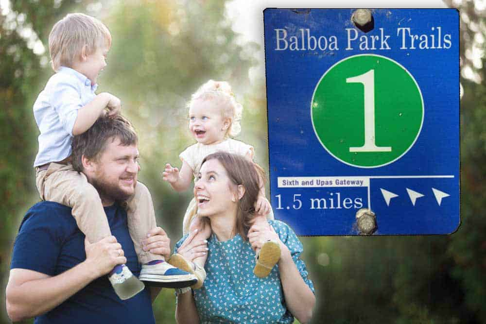 Photo collage showing Balboa Park Trail #1 sign and a man and woman carrying two children.