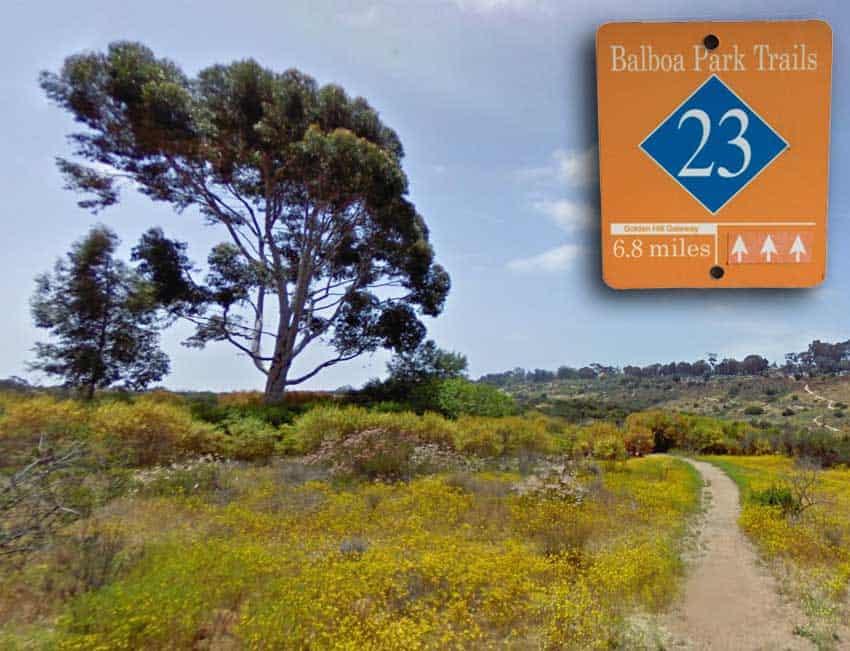 Photo montage - Balboa Park #23 trail sign and landscape along path.