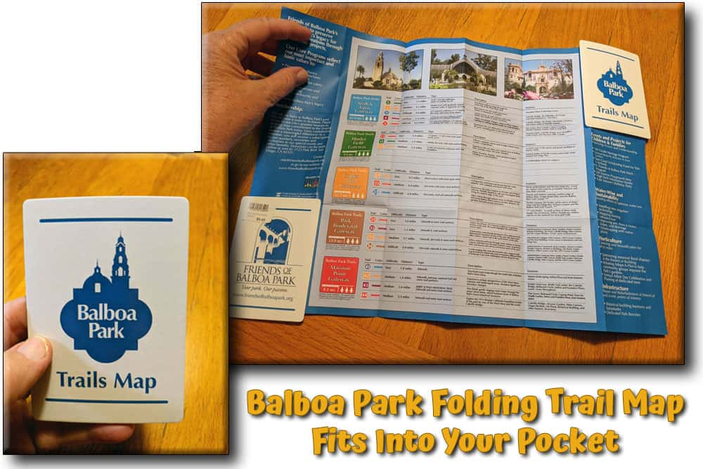 """Photo collage of the Balboa Park trails map unfolded and folded into 4"""" by 3"""" pocket size."""