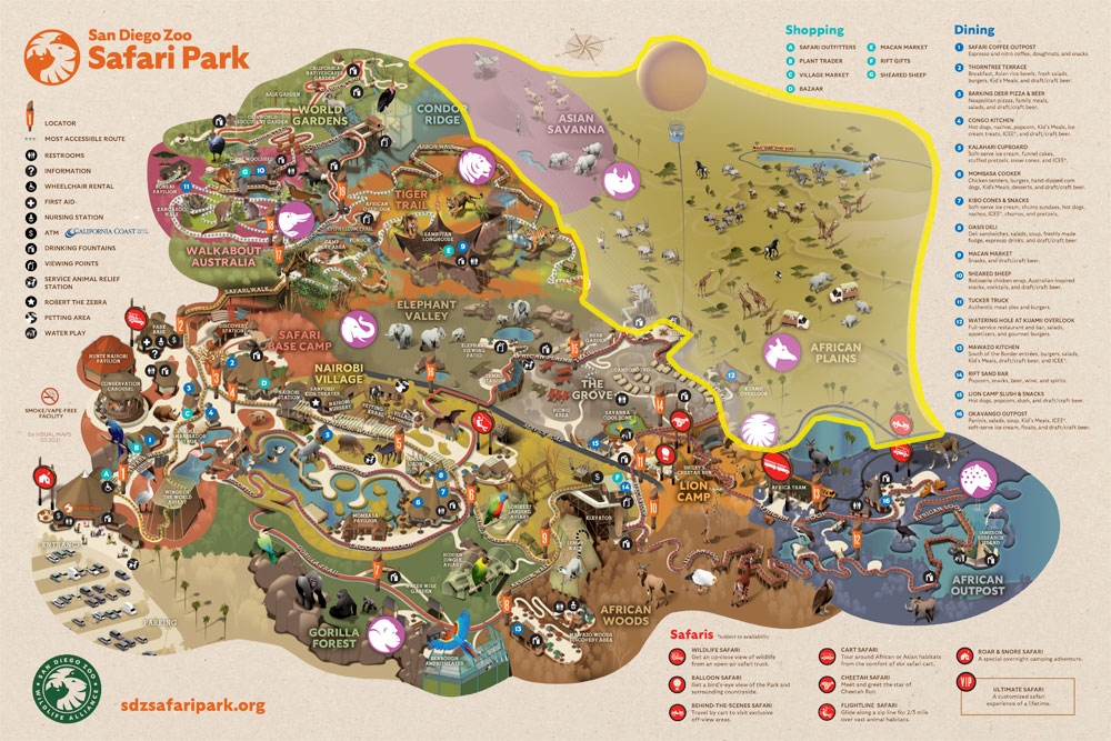 Map of San Diego Zoo Safari Park walkable exhibit areas included with admission indicated with a yellow outline.